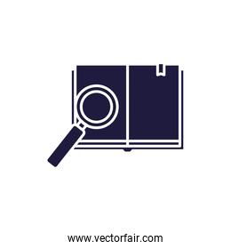 Isolated open book and lupe silhouette style icon vector design