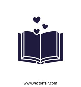 Isolated open book and hearts silhouette style icon vector design