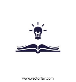 Isolated open book and light bulb silhouette style icon vector design