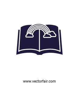 Isolated open book and rainbow silhouette style icon vector design