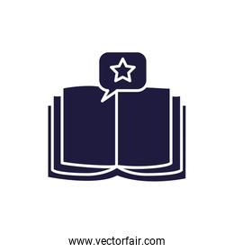 Isolated open book and bubble silhouette style icon vector design