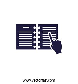 Isolated open book and hand silhouette style icon vector design