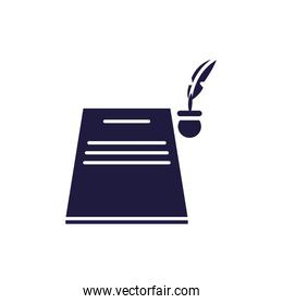 Isolated education book and feather pen silhouette style icon vector design