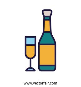 Isolated champagne bottle and cup vector design