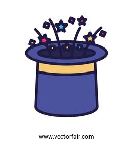 Isolated party confetti inside magic hat vector design