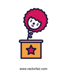 Isolated party clown and box vector design