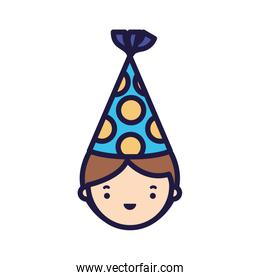 Isolated boy with party hat vector design