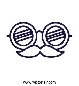 Isolated party glasses with mustache mask vector design