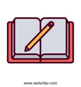 Isolated education open book and pencil vector design
