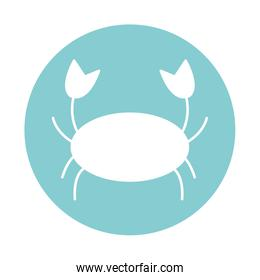Isolated crab block style icon vector design