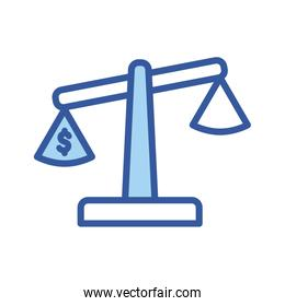 Isolated dollar inside scale line and fill style icon vector design