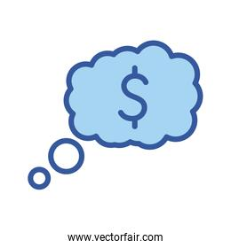 Isolated money dollar cloud line and fill style icon vector design