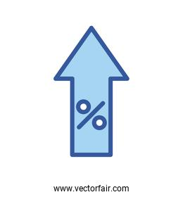 Isolated percentage inside arrow line and fill style icon vector design