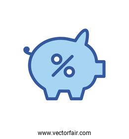 Isolated money piggy line and fill style icon vector design