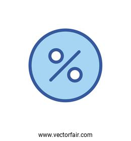 Isolated percentage circle line and fill style icon vector design