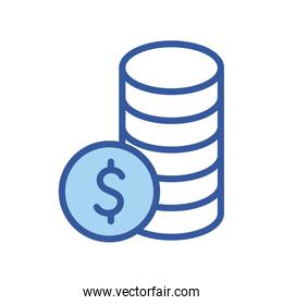 Isolated money coins line and fill style icon vector design