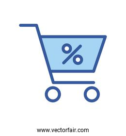 Isolated percentage inside shopping cart line and fill style icon vector design