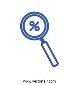 Isolated percentage inside lupe line and fill style icon vector design