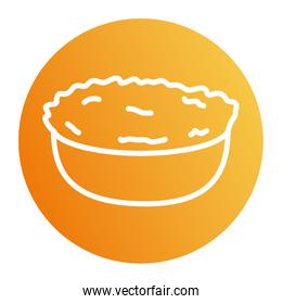 Isolated salad bowl block style icon vector design