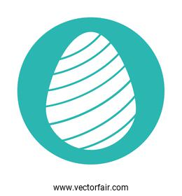Happy easter striped egg block style icon vector design