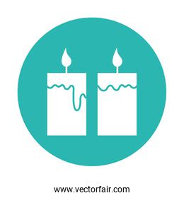 Isolated candles block style icon vector design
