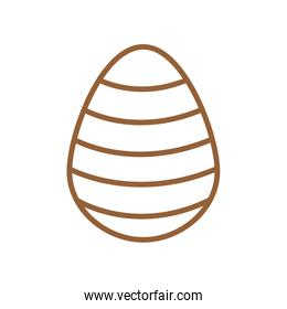 Happy easter striped egg line style icon vector design
