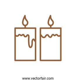 Isolated candles line style icon vector design