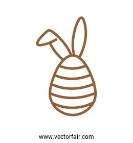 Happy easter egg with rabbit ears line style icon vector design