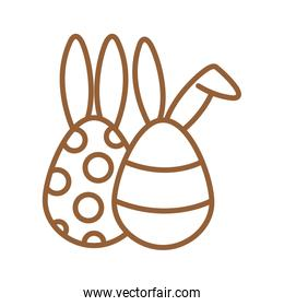 Happy easter eggs with rabbit ears line style icon vector design