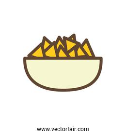 Isolated nachos bowl food line and fill style icon vector design
