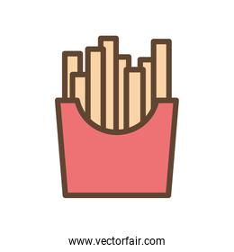 Isolated french fries food line and fill style icon vector design