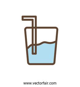 Isolated water glass drink line and fill style icon vector design