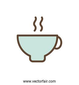 Isolated tea cup drink line and fill style icon vector design