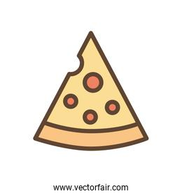 Isolated pizza food line and fill style icon vector design