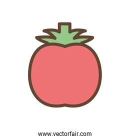 Isolated tomato vegetable line and fill style icon vector design