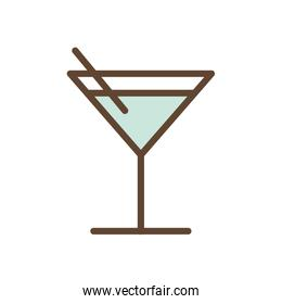 Isolated cocktail glass drink line and fill style icon vector design