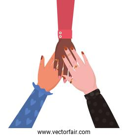 Isolated united female hands vector design
