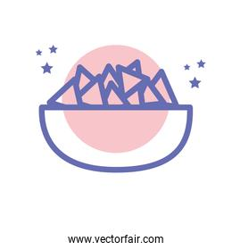 Isolated nachos bowl food block line style icon vector design