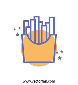 Isolated french fries food block line style icon vector design