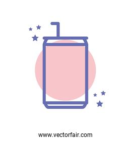 Isolated soda can drink block line style icon vector design