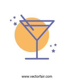 Isolated cocktail glass drink block line style icon vector design