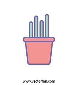 Isolated cactus inside pot line and fill style icon vector design