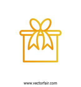 Gift with bowtie gradient style icon vector design