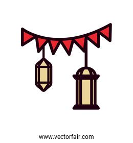 Ramadan lanterns and banner pennant line and fill style icon vector design
