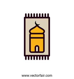 Ramadan mosque inside label line and fill style icon over white