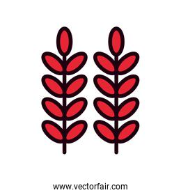 Isolated natural leaves line and fill style icon vector design