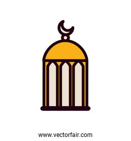 Ramadan mosque with moon line and fill style icon vector design