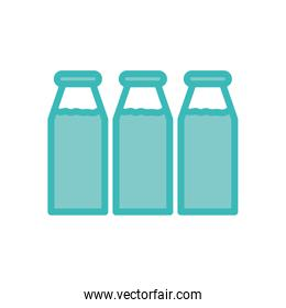 Isolated milk bottles dou color style icon vector design