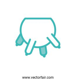 Isolated milk udders dou color style icon vector design