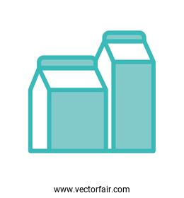 Isolated milk bottle dou color style icon vector design